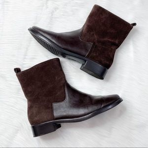 Aerosoles Brown Leather & Suede Mid-Calf Bootie